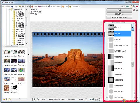 Capture d'écran PhotoScape pour Windows XP