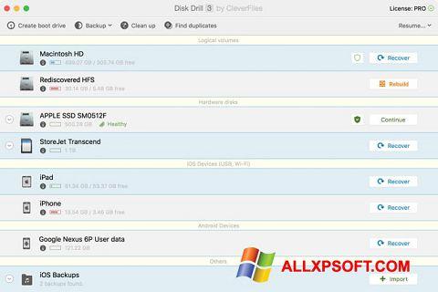 Capture d'écran Disk Drill pour Windows XP
