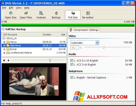 Capture d'écran DVD Shrink pour Windows XP