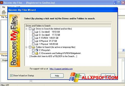 Capture d'écran Recover My Files pour Windows XP