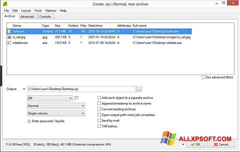 Capture d'écran PeaZip pour Windows XP