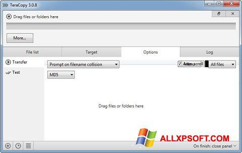 Capture d'écran TeraCopy pour Windows XP