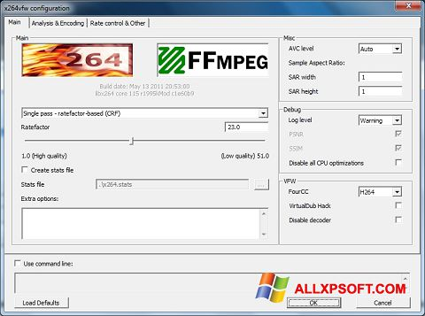 Capture d'écran x264 Video Codec pour Windows XP