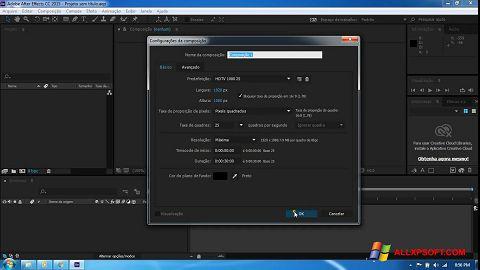 Capture d'écran Adobe After Effects CC pour Windows XP