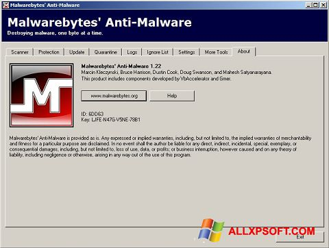 Capture d'écran Malwarebytes Anti-Malware Free pour Windows XP