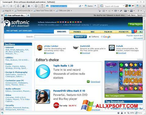 Capture d'écran Lunascape pour Windows XP