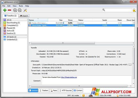 Capture d'écran qBittorrent pour Windows XP