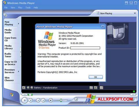 Capture d'écran Windows Media Player pour Windows XP