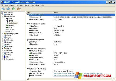 Capture d'écran AIDA32 pour Windows XP