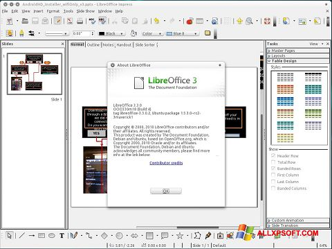 Capture d'écran LibreOffice pour Windows XP