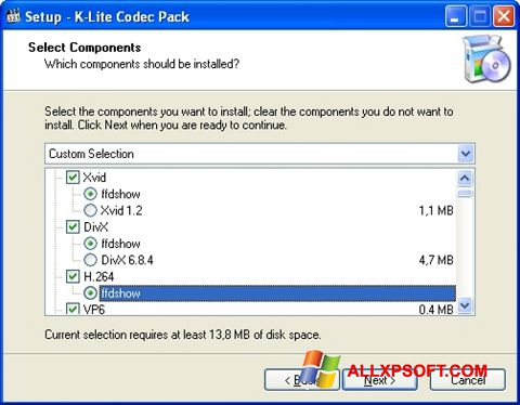 Capture d'écran K-Lite Codec Pack pour Windows XP