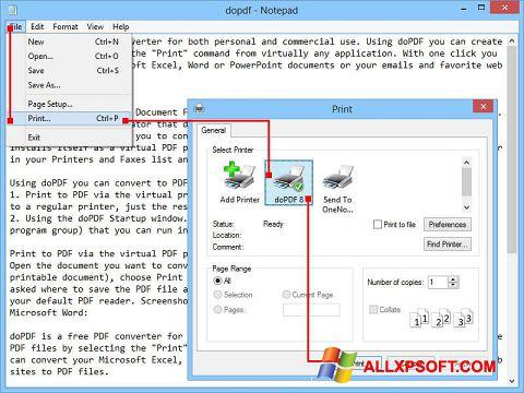 Capture d'écran doPDF pour Windows XP