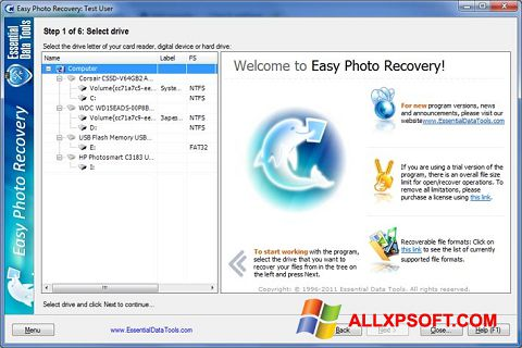 Capture d'écran Easy Photo Recovery pour Windows XP