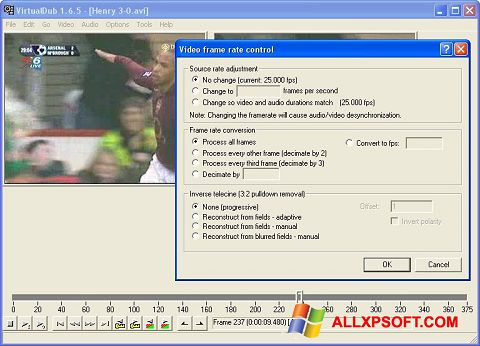 Capture d'écran VirtualDubMod pour Windows XP