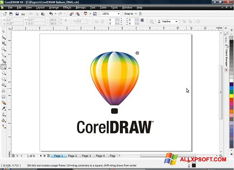 Capture d'écran CorelDRAW pour Windows XP