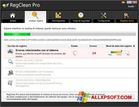 Capture d'écran RegClean Pro pour Windows XP
