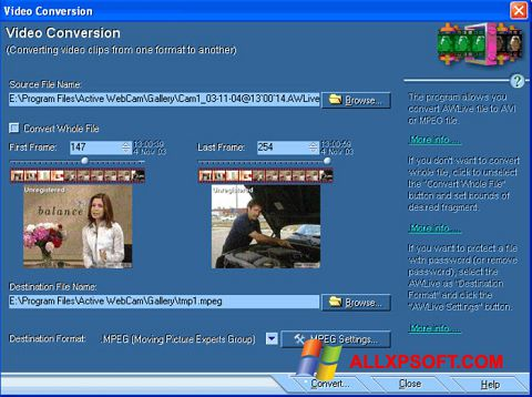 Capture d'écran Active WebCam pour Windows XP