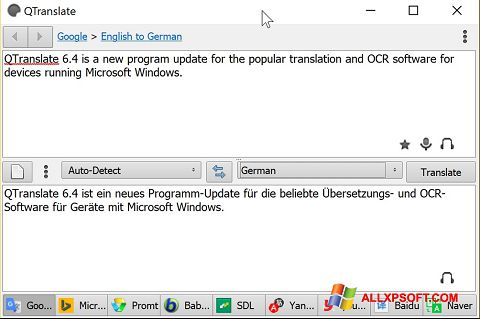 Capture d'écran QTranslate pour Windows XP