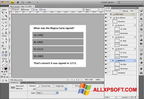 Capture d'écran Adobe Fireworks pour Windows XP