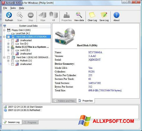 Capture d'écran Active KillDisk pour Windows XP
