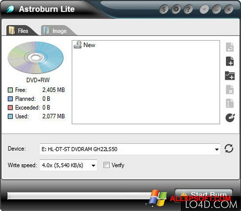 Capture d'écran Astroburn Lite pour Windows XP