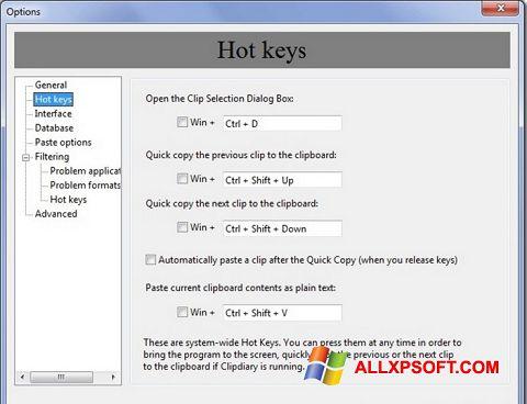 Capture d'écran Clipdiary pour Windows XP