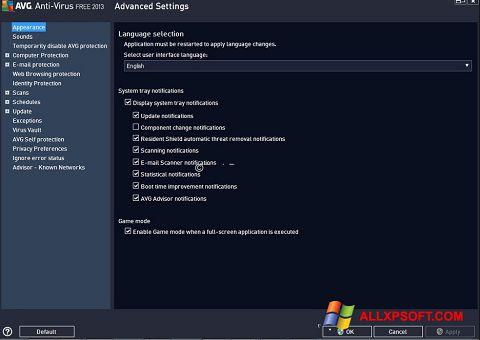 Capture d'écran AVG pour Windows XP
