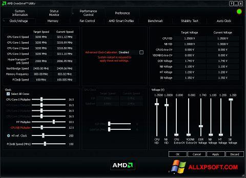 Capture d'écran AMD Overdrive pour Windows XP