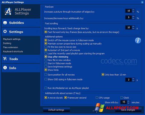 Capture d'écran ALLPlayer pour Windows XP