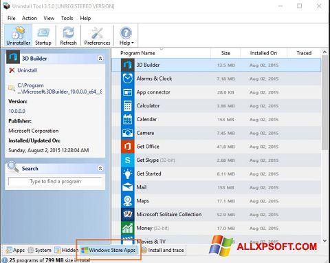 Capture d'écran Uninstall Tool pour Windows XP