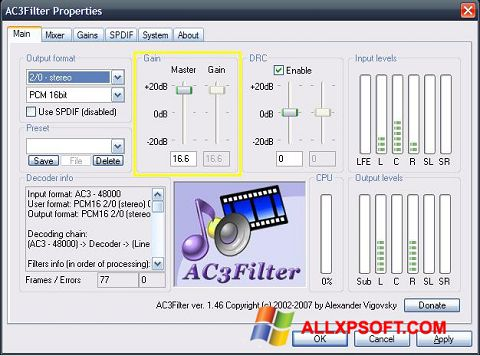 Capture d'écran AC3Filter pour Windows XP