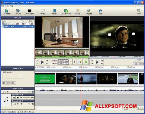 Capture d'écran VideoPad Video Editor pour Windows XP