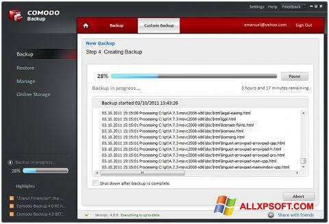 Capture d'écran Comodo BackUp pour Windows XP