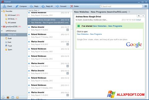 Capture d'écran FoxMail pour Windows XP