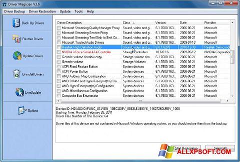Capture d'écran Driver Magician pour Windows XP