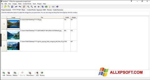 Capture d'écran PTGui pour Windows XP