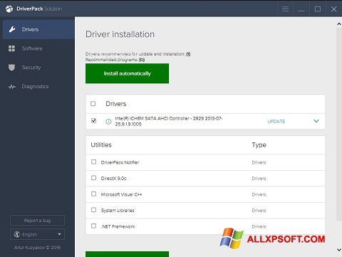 Capture d'écran DriverPack Solution pour Windows XP