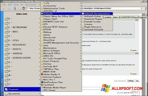 Capture d'écran AviSynth pour Windows XP