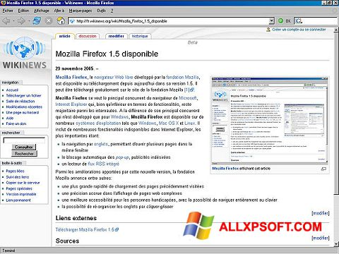 Capture d'écran Mozilla Firefox pour Windows XP
