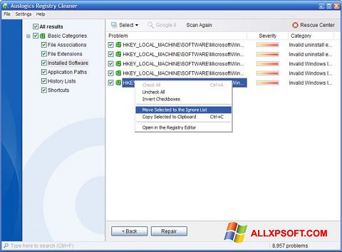 Capture d'écran Auslogics Registry Cleaner pour Windows XP