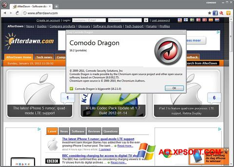 Capture d'écran Comodo Dragon pour Windows XP