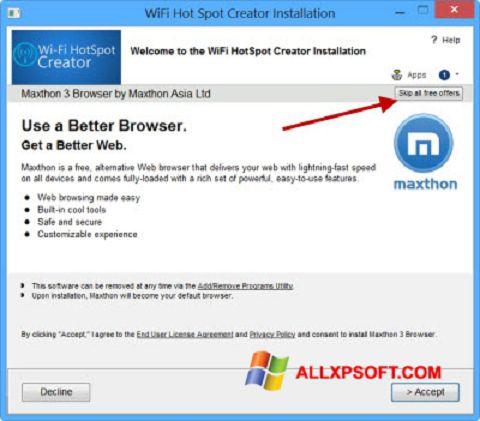 Capture d'écran Wi-Fi HotSpot Creator pour Windows XP