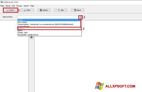 Capture d'écran ArtMoney Pro pour Windows XP