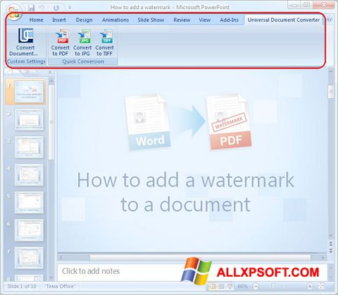 Capture d'écran Microsoft PowerPoint pour Windows XP