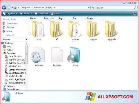 Capture d'écran Windows 7 USB DVD Download Tool pour Windows XP