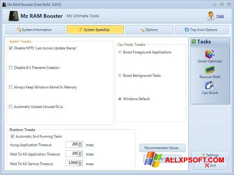 Capture d'écran Mz RAM Booster pour Windows XP