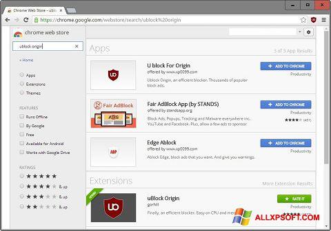Capture d'écran uBlock pour Windows XP