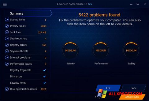 Capture d'écran Advanced SystemCare Free pour Windows XP