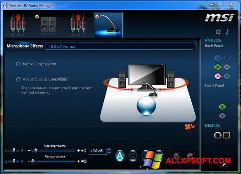 Capture d'écran Realtek Audio Driver pour Windows XP