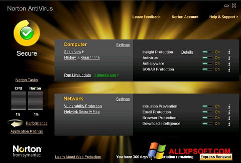 Capture d'écran Norton AntiVirus pour Windows XP